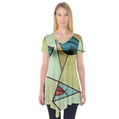 Abstract Art Face Short Sleeve Tunic