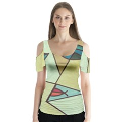 Abstract Art Face Butterfly Sleeve Cutout Tee