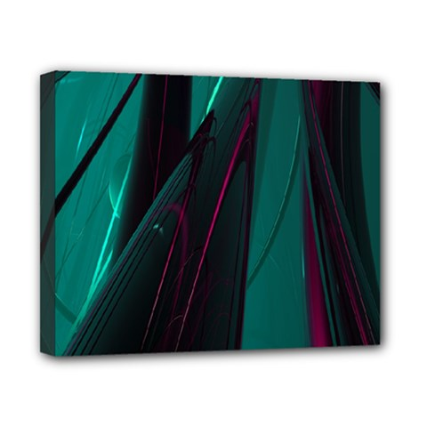 Abstract Green Purple Canvas 10  x 8