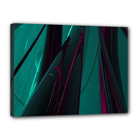 Abstract Green Purple Canvas 16  x 12