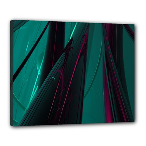 Abstract Green Purple Canvas 20  x 16