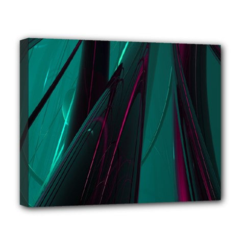 Abstract Green Purple Deluxe Canvas 20  x 16