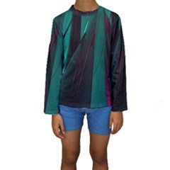 Abstract Green Purple Kids  Long Sleeve Swimwear
