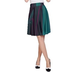 Abstract Green Purple A Line Skirt