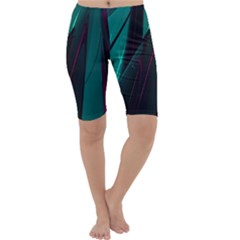 Abstract Green Purple Cropped Leggings