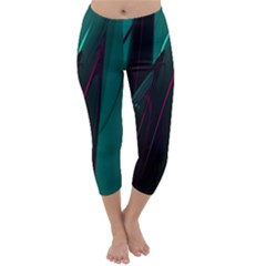Abstract Green Purple Capri Winter Leggings