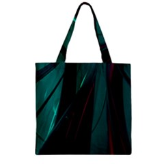 Abstract Green Purple Zipper Grocery Tote Bag