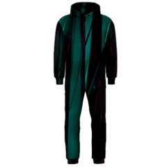 Abstract Green Purple Hooded Jumpsuit (men)
