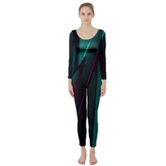 Abstract Green Purple Long Sleeve Catsuit