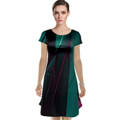 Abstract Green Purple Cap Sleeve Nightdress