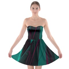Abstract Green Purple Strapless Bra Top Dress