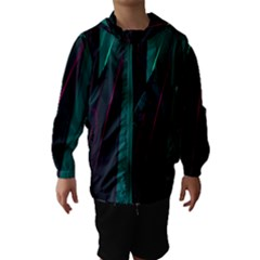 Abstract Green Purple Hooded Wind Breaker (Kids)