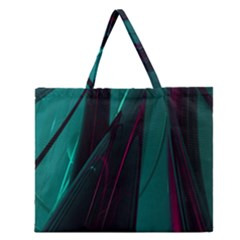 Abstract Green Purple Zipper Large Tote Bag