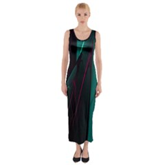 Abstract Green Purple Fitted Maxi Dress