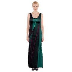 Abstract Green Purple Maxi Thigh Split Dress