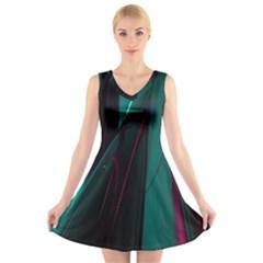 Abstract Green Purple V Neck Sleeveless Skater Dress