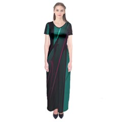 Abstract Green Purple Short Sleeve Maxi Dress