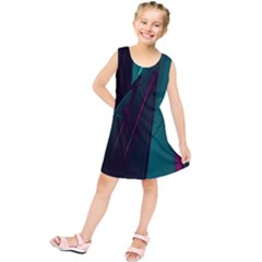 Abstract Green Purple Kids  Tunic Dress