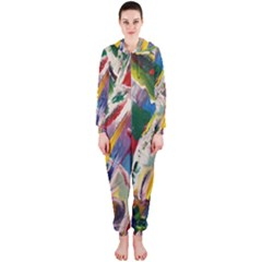 Abstract Art Art Artwork Colorful Hooded Jumpsuit (Ladies)