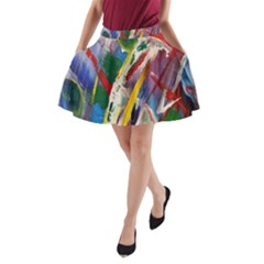 Abstract Art Art Artwork Colorful A-Line Pocket Skirt