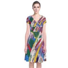 Abstract Art Art Artwork Colorful Short Sleeve Front Wrap Dress