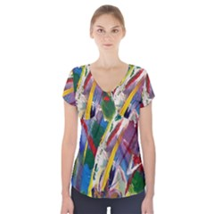 Abstract Art Art Artwork Colorful Short Sleeve Front Detail Top