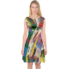 Abstract Art Art Artwork Colorful Capsleeve Midi Dress