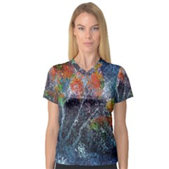 Abstract Digital Art Women s V-Neck Sport Mesh Tee