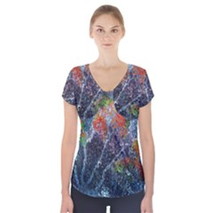 Abstract Digital Art Short Sleeve Front Detail Top