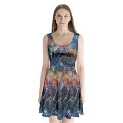 Abstract Digital Art Split Back Mini Dress