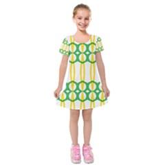 Green Yellow Shapes                           Kids  Short Sleeve Velvet Dress