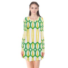 Green Yellow Shapes                      Long Sleeve V Neck Flare Dress