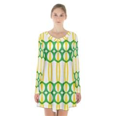 Green Yellow Shapes                      long Sleeve Velvet V Neck Dress