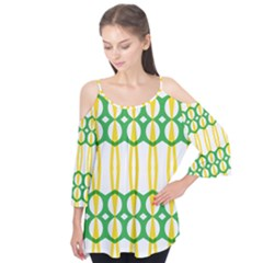 Green Yellow Shapes                               Flutter Sleeve Tee
