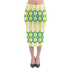 Green Yellow Shapes                                                                                                                     Midi Pencil Skirt