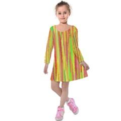 Paint Traces                           kids  Long Sleeve Velvet Dress