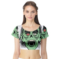 Zombie Face Vector Clipart Short Sleeve Crop Top (tight Fit)