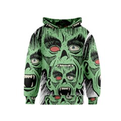 Zombie Face Vector Clipart Kids  Pullover Hoodie