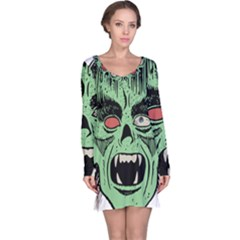 Zombie Face Vector Clipart Long Sleeve Nightdress