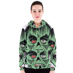 Zombie Face Vector Clipart Women s Zipper Hoodie