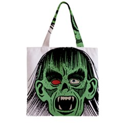 Zombie Face Vector Clipart Zipper Grocery Tote Bag