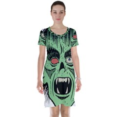 Zombie Face Vector Clipart Short Sleeve Nightdress