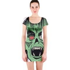Zombie Face Vector Clipart Short Sleeve Bodycon Dress