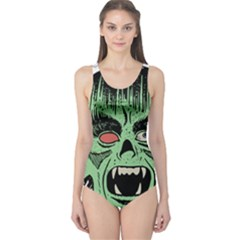 Zombie Face Vector Clipart One Piece Swimsuit