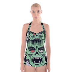 Zombie Face Vector Clipart Boyleg Halter Swimsuit