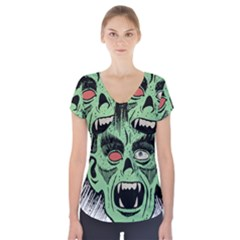 Zombie Face Vector Clipart Short Sleeve Front Detail Top