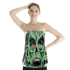 Zombie Face Vector Clipart Strapless Top