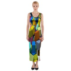 Cubes Assorted Random Toys Fitted Maxi Dress