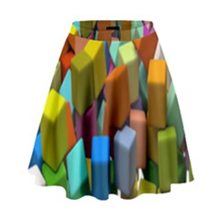 Cubes Assorted Random Toys High Waist Skirt