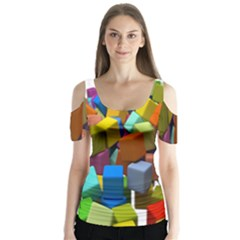 Cubes Assorted Random Toys Butterfly Sleeve Cutout Tee